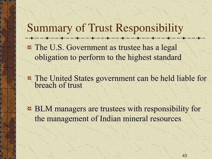 Summary of Trust Responsibility