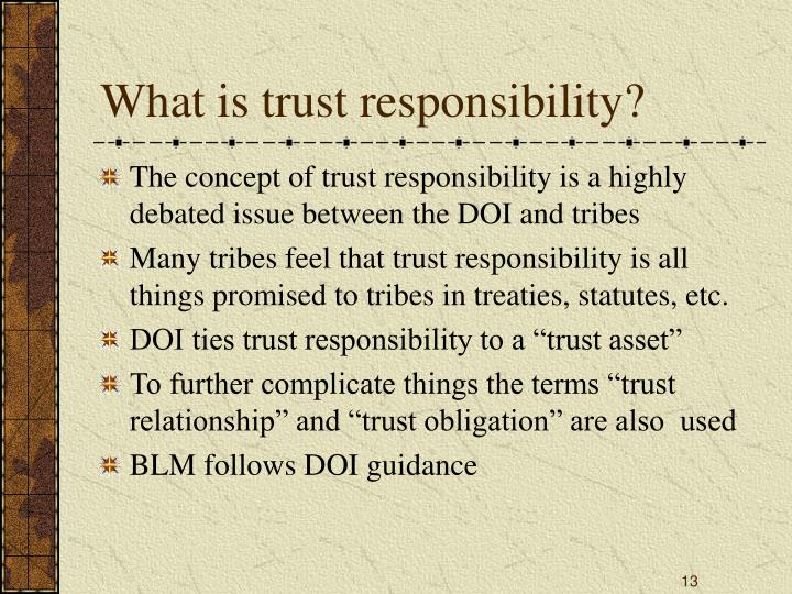 What is trust responsibility?