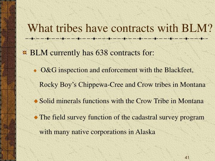 What tribes have contracts with BLM?