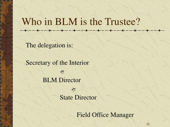 Who in BLM is the Trustee?