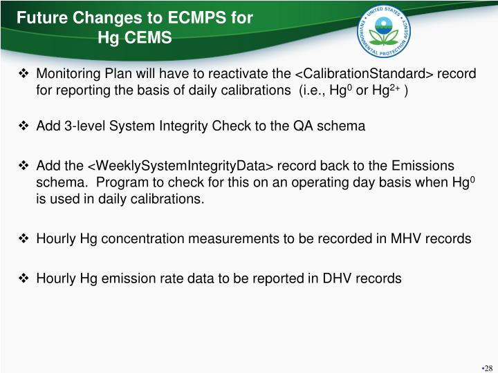 Future Changes to ECMPS for Hg CEMS