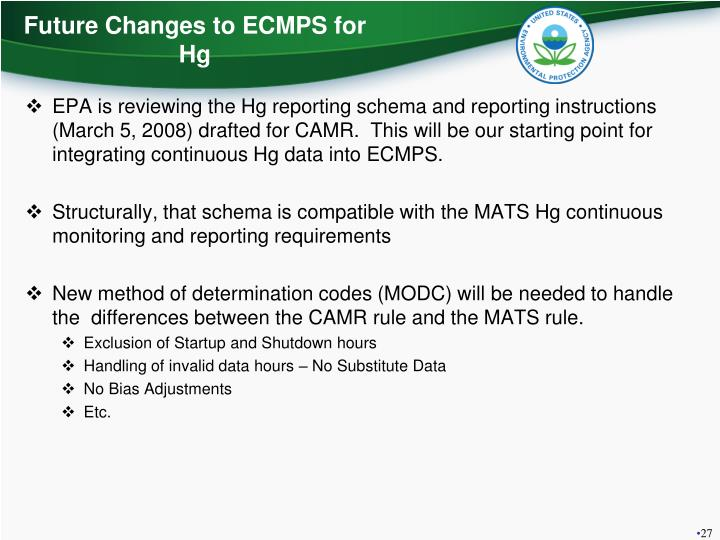 Future Changes to ECMPS for Hg