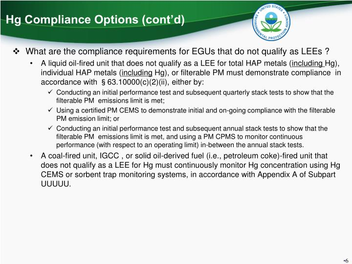 Hg Compliance Options (cont'd)