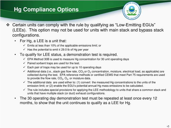 Hg Compliance Options