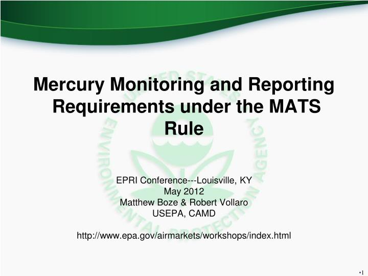 Mercury Monitoring and Reporting