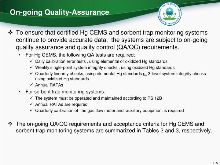 On-going Quality-Assurance