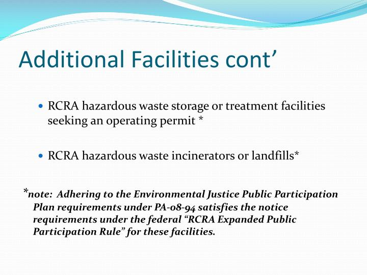 Additional Facilities cont'