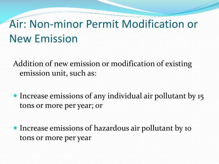 Air: Non-minor Permit Modification or New Emission