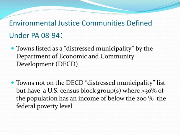 Environmental Justice Communities Defined Under PA 08-94