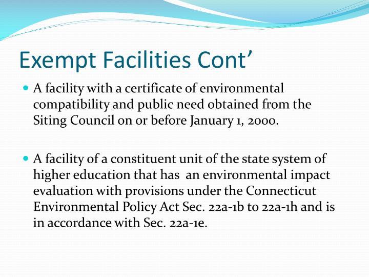 Exempt Facilities Cont'