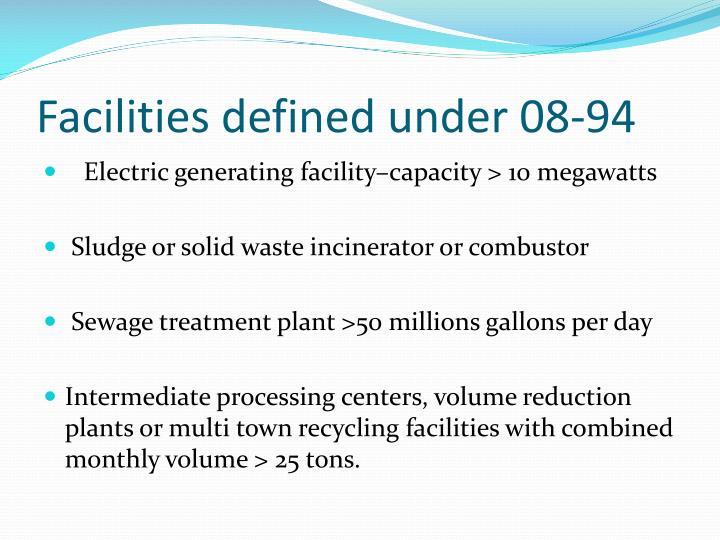 Facilities defined under 08-94