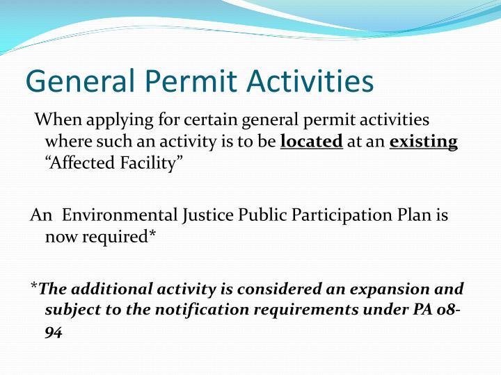 General Permit Activities