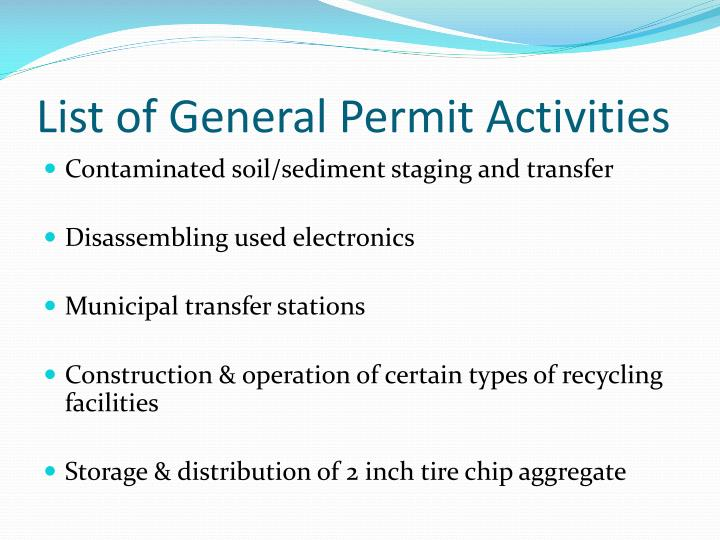List of General Permit Activities