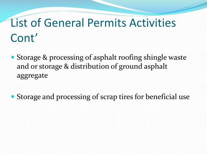 List of General Permits Activities Cont'