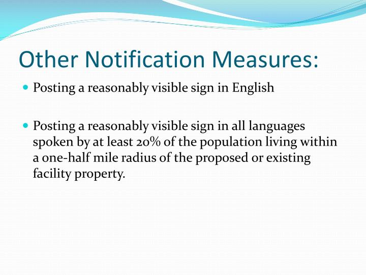 Other Notification Measures: