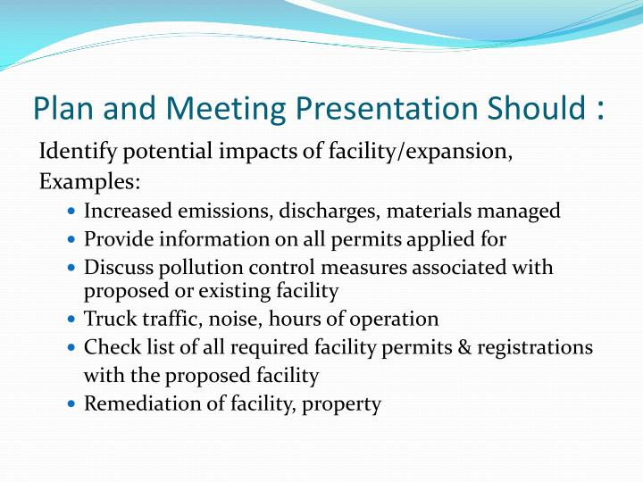 Plan and Meeting Presentation Should