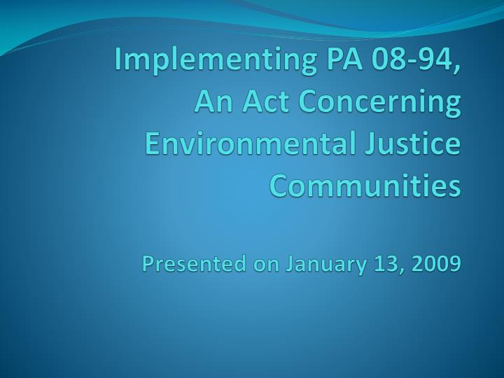 Implementing PA 08-94,
