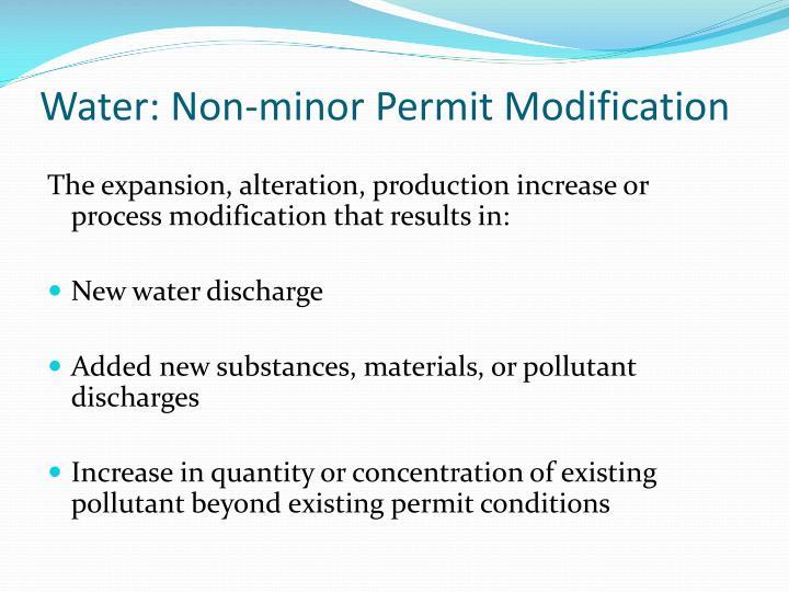 Water: Non-minor Permit Modification