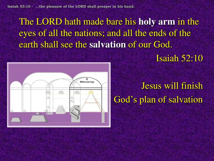 Isaiah 53:10 -  ...the pleasure of the LORD shall prosper in his hand.
