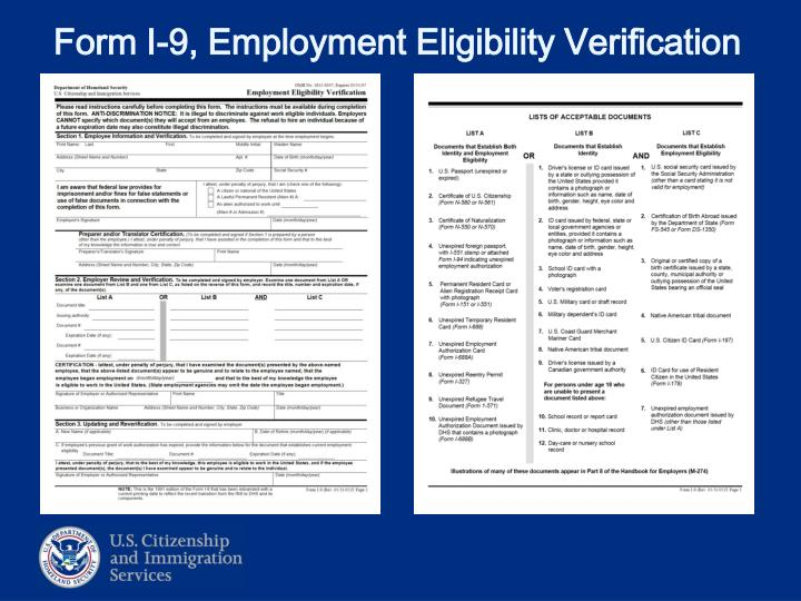 Form i 9 employment eligibility verification
