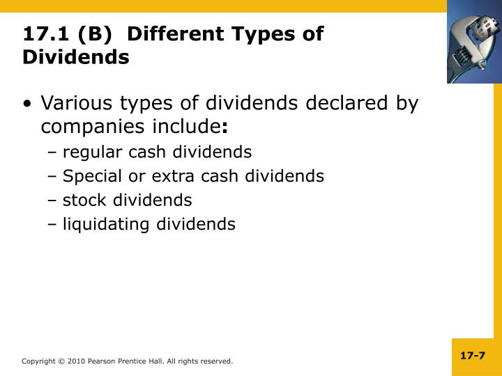 17.1 (B)  Different Types of Dividends