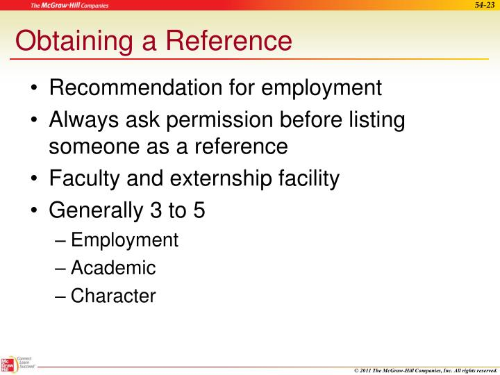 Obtaining a Reference