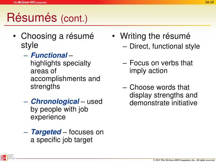 Choosing a résumé style