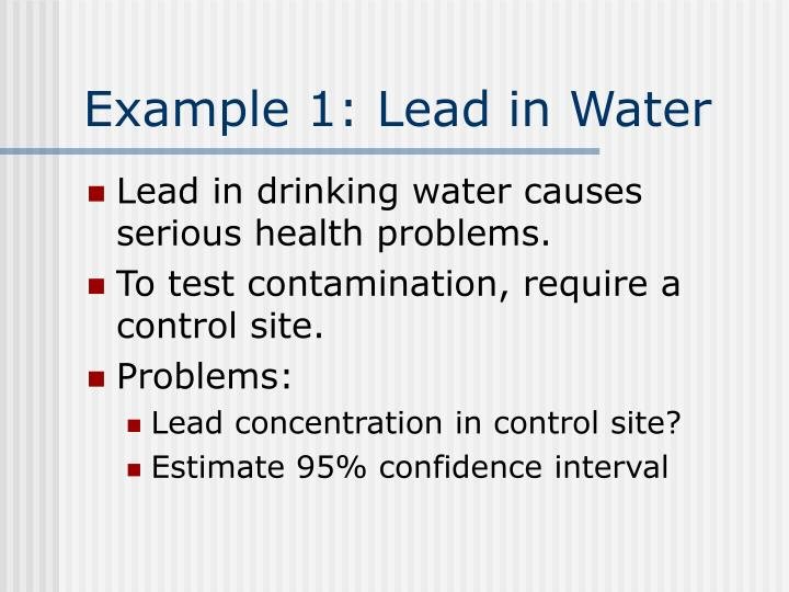 Example 1: Lead in Water
