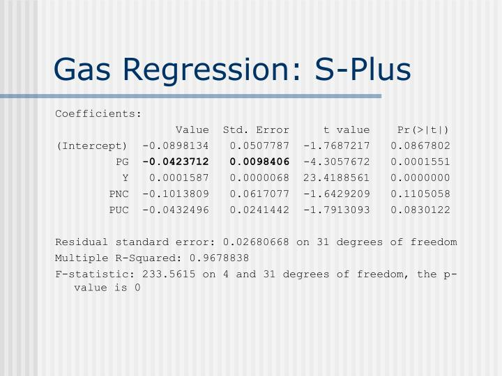 Gas Regression: S-Plus