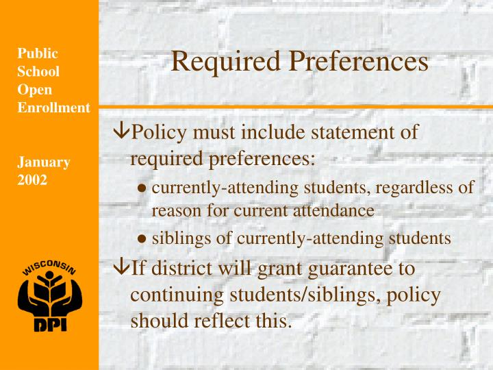 Required Preferences
