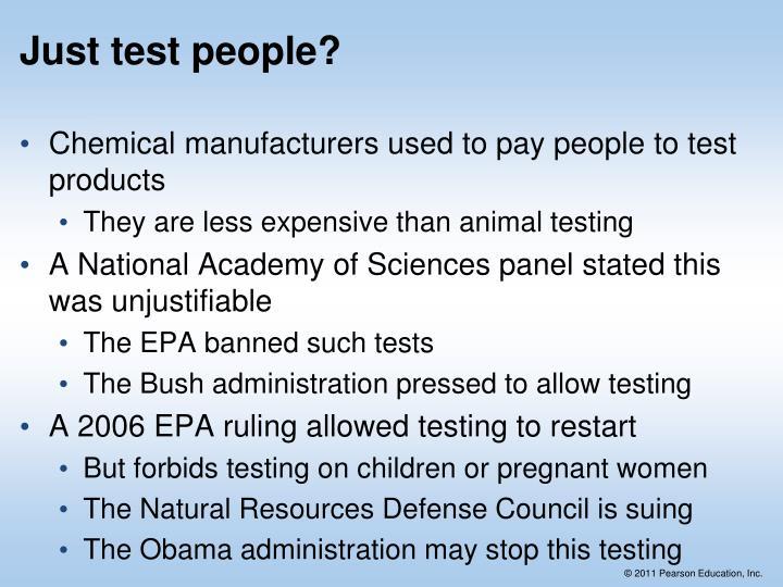 Just test people?