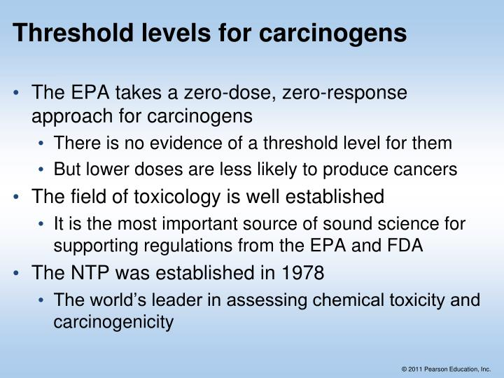 Threshold levels for carcinogens