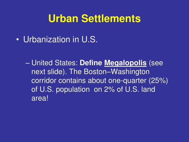 Urban Settlements