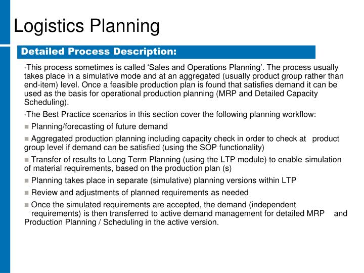 This process sometimes is called 'Sales and Operations Planning'. The process usually takes place in a simulative mode and at an aggregated (usually product group rather than end-item) level. Once a feasible production plan is found that satisfies demand it can be used as the basis for operational production planning (MRP and Detailed Capacity Scheduling).