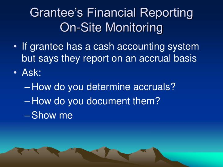 Grantee's Financial Reporting
