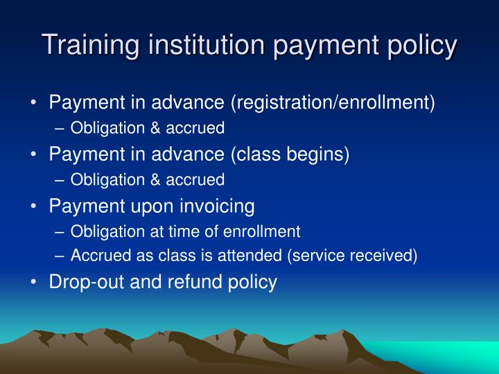 Training institution payment policy