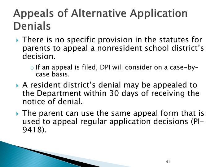 Appeals of Alternative Application Denials