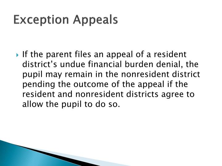 Exception Appeals