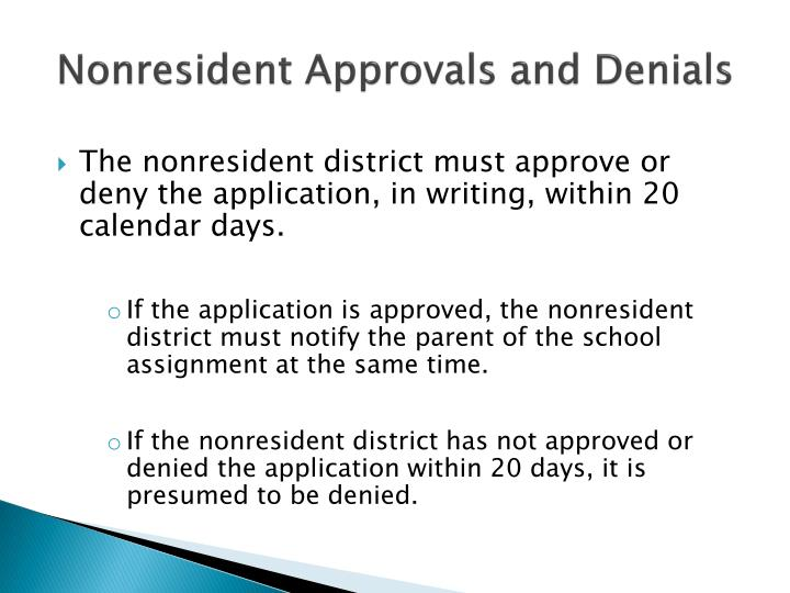 Nonresident Approvals and Denials