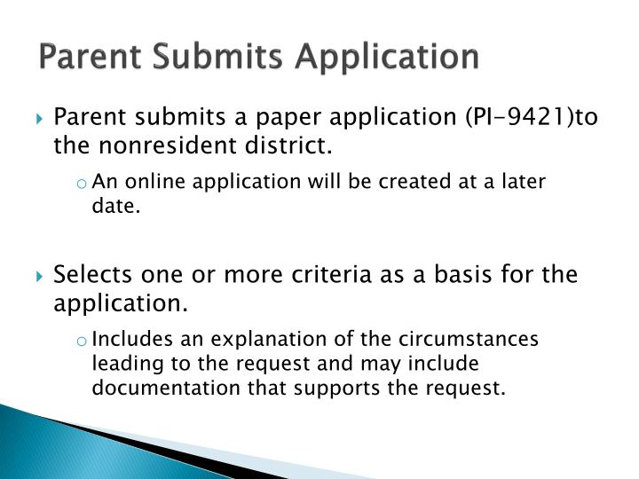 Parent Submits Application