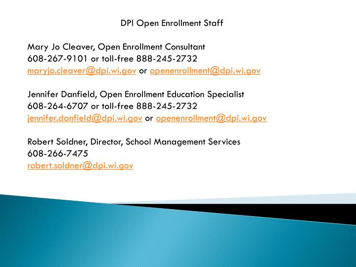 DPI Open Enrollment Staff