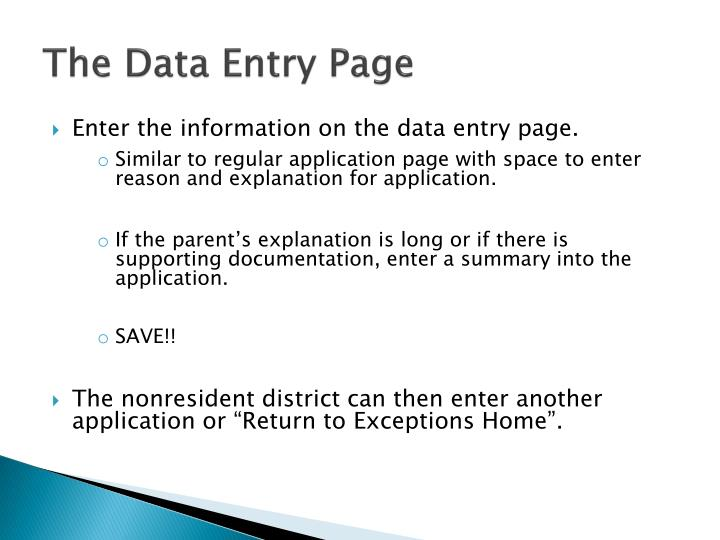 The Data Entry Page