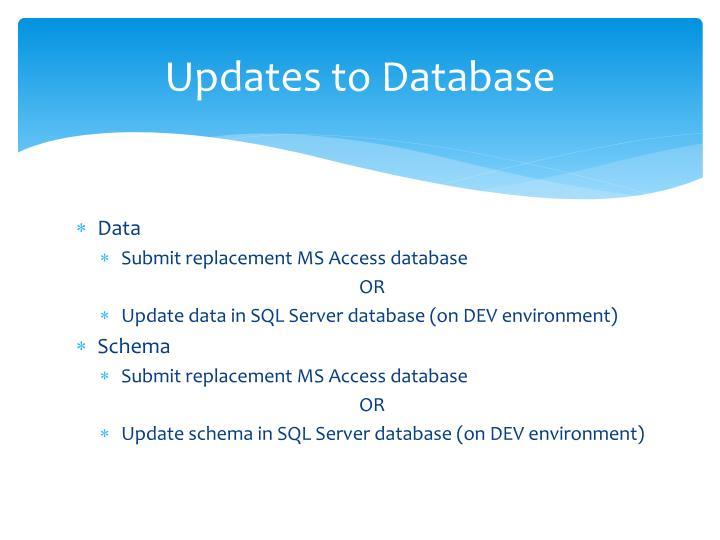 Updates to Database