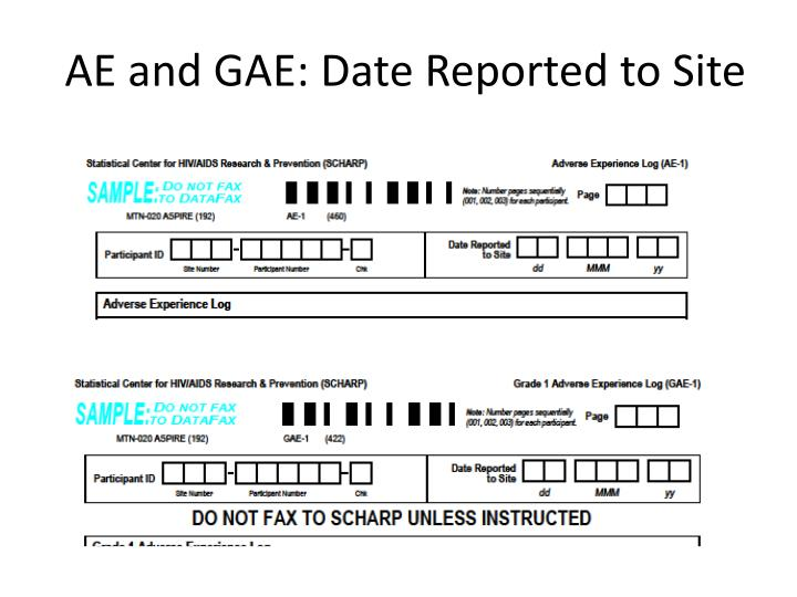 AE and GAE: Date Reported to Site