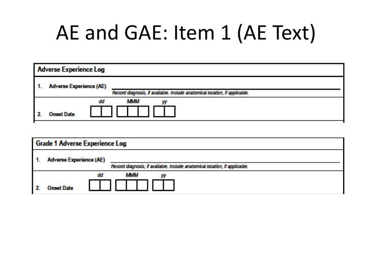 AE and GAE: Item 1 (AE Text)