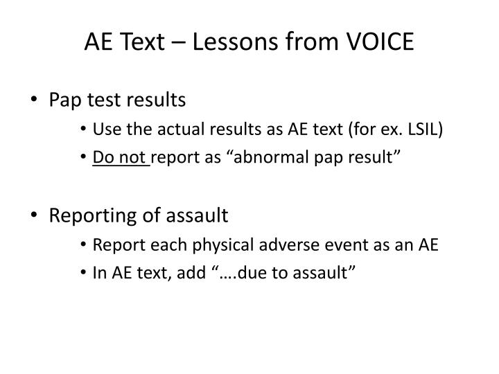 AE Text – Lessons from VOICE