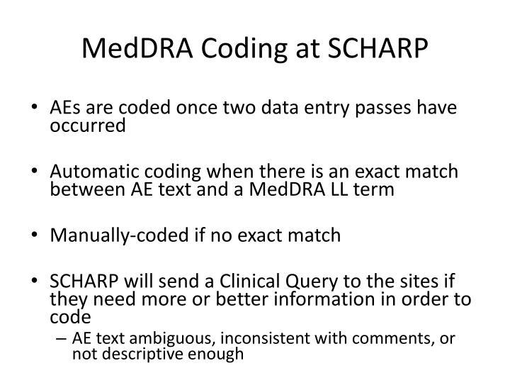 MedDRA Coding at SCHARP