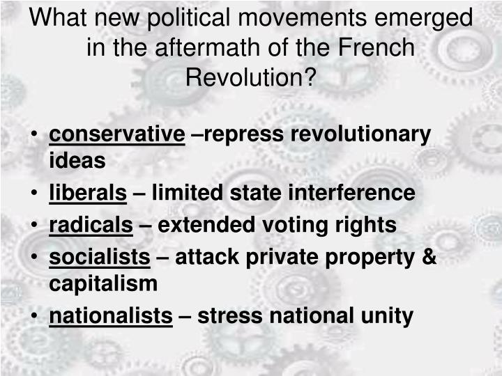 What new political movements emerged in the aftermath of the French Revolution?