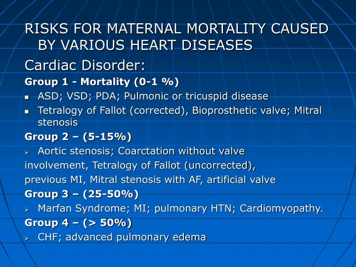 RISKS FOR MATERNAL MORTALITY CAUSED BY VARIOUS HEART DISEASES