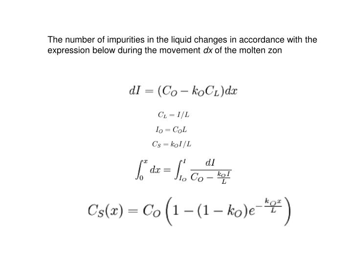 The number of impurities in the liquid changes in accordance with the expression below during the movement